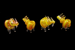 Colored Lining Rhino Glass Pipe