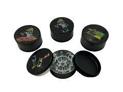 3 Part 51mm Black Zombie Aluminum Grinder (Buy 12pc Display Box $2.25 each) GR041-BZB