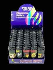 Techno Torch Marley Design Electronic Disposable Lighter 50ct Display Box
