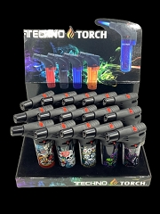 Techno Torch Tattoo Mixed Designed 1 Flame Torch Lighters 15ct Display Box