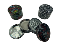52mm 4 Part Colored Skulls Metal Grinders (Buy 12ct Display Box for $5.50 each) GRZ524BH