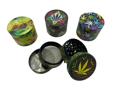 50mm 4 Part Mixed Leaf Designs Matte Finish Metal Grinders (Buy 12ct Display Box for $5.25 each) GRZ850ZP-Leaf