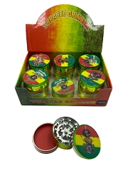 51mm 3 Part Rasta Bob Marley Aluminum Grinders (Buy 12ct Display Box for $2.75 each) GR041-CRT