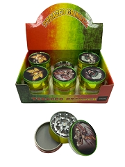 51mm 3 Part Rasta Skull Aluminum Grinders (Buy 12ct Display Box for $2.75 each) GR041-MC CSK