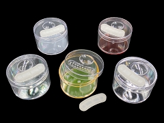 63mm Clear Bud Jar Colored Bottom Magnifying Plastic Jar (Mixed Colors)