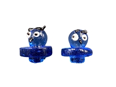 Bird Face Blue Colored Glass Carb Cap