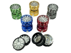 62mm 4 Part Led Bottom Top Lightning Design Colored Heavy Aluminum Grinder (Buy 6ct Display Box $14.99 each) GRL7025