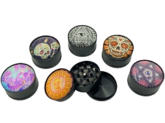 52mm 3 Part Black Matte Mixed Designs Aluminum Grinder (Buy 12ct Display Box $3.50 each) GRZ024SJ-3