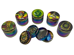 50mm 4Part Rainbow Rasta UV Print Aluminum Grinder (Buy 12ct Display Box $6.99 each) GR203-50RBRT