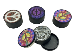 51mm 3 Part Black Peace Aluminum Grinder (Buy 12ct Display Box $2.75 each) GR041-BPE