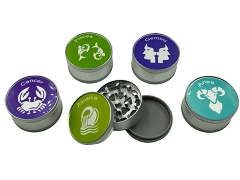 51mm 3 Part Matte Zodiac Aluminum Grinder (Buy 12ct Display Box $2.75 each) GR041-Zodiac