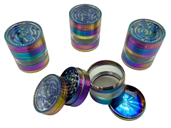 53mm 4 Part Top Maze Rainbow Window Aluminum Grinder (Buy 6ct Display Box $6.99 each) GRZ107ZT-XC