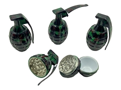 45mm 3 Part Camouflage Grenade Metal Aluminum Grinder (Buy 6ct Display Box $4.50 each) GRZ508