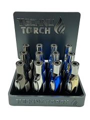 Techno Torch Metal Shiny Design Torch Lighter 12ct Display Box 17135M