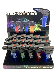 Techno Torch Colored Transparent Torch Lighter 15ct Display Box 00139T
