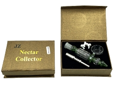 14mm JZ Gold Box Mixed Colored Nectar Collector w/ Titanium, Clip, Quartz Tip & Glass Tray