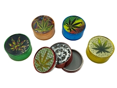51mm 3 Part Leaf Colored Aluminum Grinder (Buy 12ct Display Box $2.75 each) GR041-CC Leaf