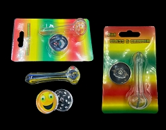 Gift Set w/ Glass Pipe & Grinder in Blister Pack