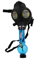 Mixed Colored Backwoods Black Gas Mask w/ Plastic Water Pipe (Comes in Box)