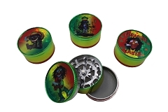 51mm 3 Part Shiny Colored Rasta Marley Aluminum Grinder (Buy 12ct Display Box $2.75 each) GR041-CRB