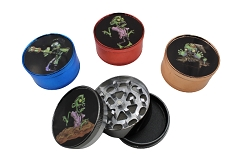 51mm 3 Part Shiny Colored Zombie Aluminum Grinder (Buy 12ct Display Box $2.75 each) GR041-CCZB