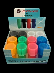 Mixed Colored Plastic Grinder + Container 12ct Display Box