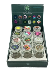 Air Tight Mixed Stickers Designed Glass Jars 12ct Display Box 33047
