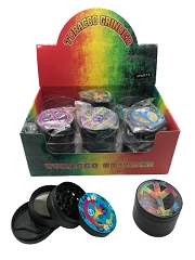 50mm 4 Part UV Print Peace Sign Black Aluminum Grinder (Buy 12ct Display Box for $5.25 each) GR155-50PEC