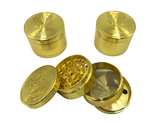 50mm 4 Part Gold Design Aluminum Grinder (Buy 6ct Display Box $5.50 each) TG-053S