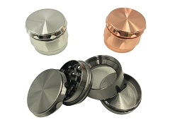 45mm 4 Part Metallic Solid Colored Aluminum Grinder (Buy 12ct Display Box $3.50 each) TG-217S