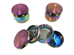 45mm 4 Part Rainbow Side Cut Shiny Aluminum Grinder (Buy 12ct Display Box $4.50 each) TG-216S
