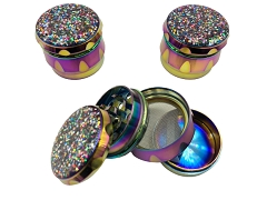 45mm 4 Part Top Glitter Rainbow Aluminum Grinder (Buy 12ct Display Box $5.50 each) TG-215J