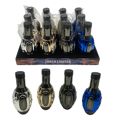 Techno Torch Metallic Grenade Torch Lighter 12ct Display Box 12055M