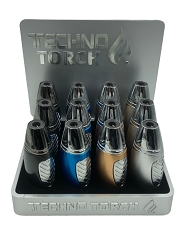 Techno Torch Metal Design Torch Lighter 12ct Display Box 18707M