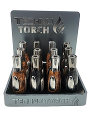 Techno Torch Patterned Design Torch Lighter 12ct Display Box 17135P