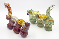 400Gr. 3 Chamber Swirl Heavy Glass Bubbler