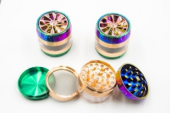 56mm 4 Part Top Tire Style Rainbow Metal Grinder MG-027 ( Buy 6 pc $ 7.99 Each )