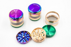 63mm 4 part Sharpstone Rainbow Color Metal Grinder MG-031 ( Buy 6 pc $ 7.99 Each )