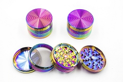 63mm 4 Part Top Circle Design Rainbow Metal Grinder MG-038G ( Buy 6 pc $ 7.50 Each )