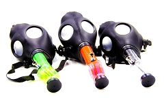 Black Gas Masks w/ Different Colored Plastic Water Pipes (Comes in Box)