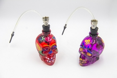 Small Colored Designed Skull Face Glass Water Pipe DK0060A