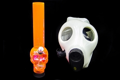 Glowing Colored Mask W/ Colored Plastic Pipe