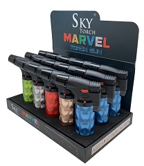 Eagle Brand Sky Torch MARVEL Design Colored Torch Lighters 15ct Display Box SK101MV