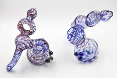 234Gr. Striped Middle Hole 3 Beads Glass Bubbler