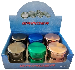 63mm 4 Part Colored Side Window Aluminum Grinder (Buy 6ct Box $6.75 each) TG-203J