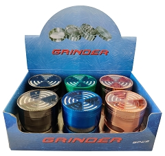 63mm 4 Part Colored Side Window Top Maze Aluminum Grinder (Buy 6ct Box $6.75 each) TG-205J