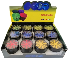 50mm 4 Part Black Base Colored Lightning Wheel Aluminum Grinder (Buy 12ct Box $6.25 each) TG-256