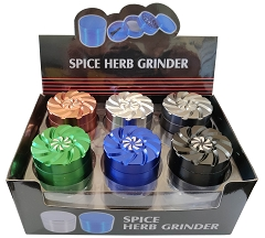 50mm 4 Part Top Twisted Design Aluminum Grinder (Buy 12ct Box $6.25 each) TG-276