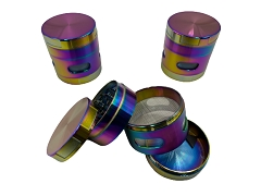53mm 4 Part Rainbow Colored Side Window Aluminum Grinder (Buy 6ct Box $5.99 each) TG-282