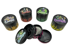 57mm 4 Part Black Base Cookies Flame Aluminum Grinder (Buy 8ct Display Box $5.99 each) MG015C